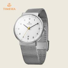 Männer klassische Mesh Analog Display Custom Uhr Japanische Quarz Silber Uhr 72344