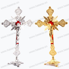 Gold / Silver Religious Juses Metal Standing Crucifix, Church / Home Decoration Catholic Statue