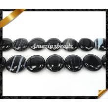 Бусины каменные из оникса, бусины из драгоценных камней черного агата (AG014)