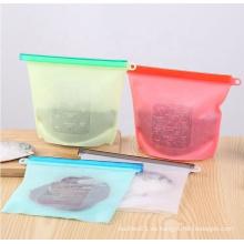 Bolsa con cremallera de almacenamiento de silicona reutilizable para frutas y verduras
