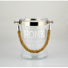 2015 New Glass Lantern with Jute Rope Handle