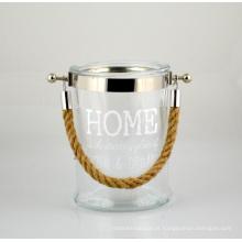 2015 Lanterna de vidro nova com cabo de corda de juta