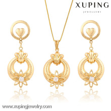 63661- Xuping New Fashion Drop Earring Pendant Flower Gold Jewelry Set