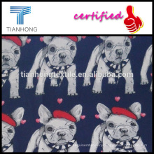 2016 spring season cotton cartoon cute doggy printing fabric for clothing