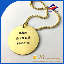 Roundness nouvelle usine de vente golded pet name tag de chien