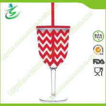 280 Ml Kelch Plastik Wein Cup; Plastikbecher mit Strohhalm