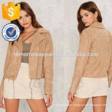 Taupe Moto Design Jacket OEM/ODM Manufacture Wholesale Fashion Women Apparel (TA7008J)