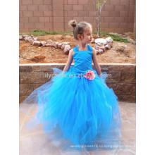 Синий оборками из органзы юбка зашнуровать назад на заказ платье девушки цветка FGZ27 Золушка платья для девочек