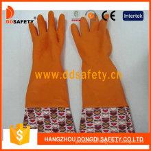 Naranja hogar látex flor diseño PVC guantes de trabajo guantes (DHL712)