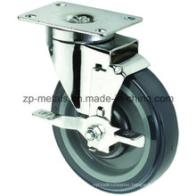 Medium Sized Biaxial PU Caster Wheels with Brake