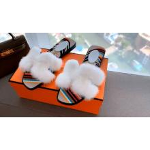 2020 luxurious mink fur slide shoes for women
