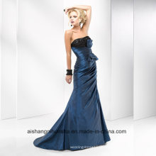 Frauen Satin Sleeveless Mantel Abend Party Prom Dress