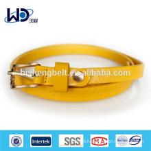 Yellow PU Skinny logo Belt for Woman