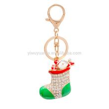 Inlaid Diamond Car Key Chain Christmas Gift Santa Claus Boots Shoes Keychain