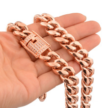 10/12/14mm Hip Hop Stainless Steel Jewelry Rose Gold Encrypted Cuban Chain Thick Necklace