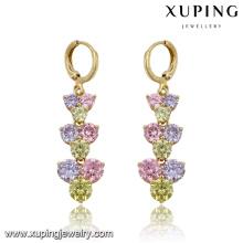 Moda elegante colorido cz diamante imitação de jóias brinco eardrop em 14k banhado a ouro 91501