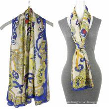 Moda impresión gasa 100% seda bufanda mosi bufanda cuadrada
