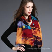 Mulheres, a geometria da impressão digital de lenço de lã