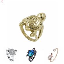 Последний Петух Титан Черепаха Палец Кольцо Дизайн Кристалл Камень Черепаха Золото Кольцо