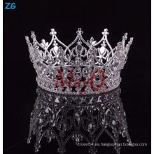 Corona redonda completa de la princesa del rhinestone más nuevo al por mayor del diseño para las muchachas