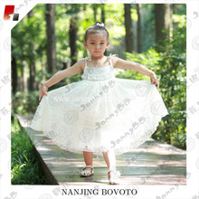 JannyBB white embroidery eyelet lace girls dress