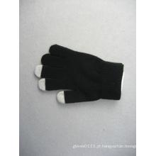 Forro de poliéster preto 10g toque de dedo três luva de trabalho-T3107