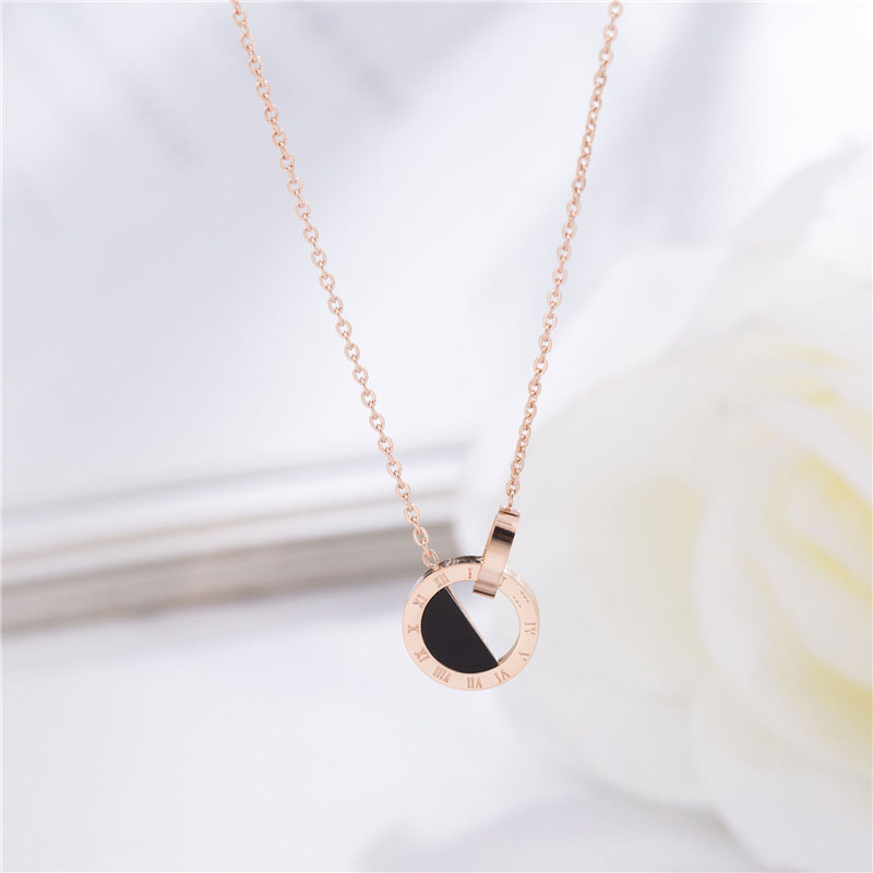 Roman Numeral Necklace Rose Gold