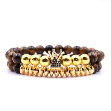 Gold Crown Alloy Charm 8 MM Semi Gemstone Beads Bracelet for Women Wholesale
