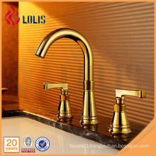 Old fashion double handle gold plated 3 hole basin faucets
