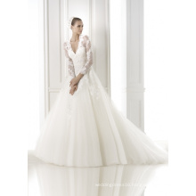 Long Sleeves V-Neck Lace Wedding Dress Bridal Gown