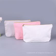 Leere Baumwolle Leinwand benutzerdefinierte Logo Make-up Kosmetiktaschen