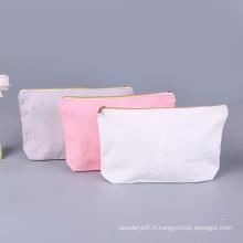 Sacs cosmétiques de maquillage de logo personnalisé en toile de coton vierge