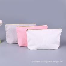 Sacos cosméticos de maquiagem com logotipo personalizado de lona de algodão em branco
