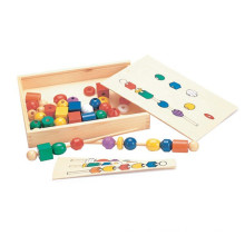 Educational Classical Wooden Beads Sequence Box Toy for Kids