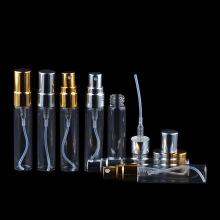 Garrafa de perfume de vidro de 5 ml com pulverizador de névoa de alumínio