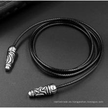 Color negro 2.5mm Collar tejido de cuero 2 tamaños Accesorios de moda