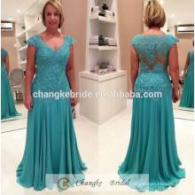 Custom Made Wedding Evening Dresses Cap Sleeve Lace Mint Green Chiffon Plus Size Mermaid Mother of Bride Dress