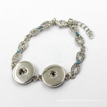 Fashion Silver Snap Button Crystal Infinity Charm Bracelet