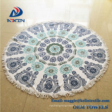 Home textile soft 100% microfiber round beach towel with custom design