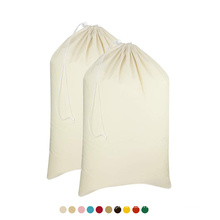 Wholesale Large Heavy Duty cotton Drawstring Laundry Bag foldable Storage Canvas Laundry Bag