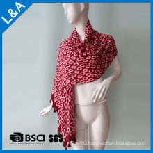 Cotton Material, Geometry Printed Scarf with Tassel