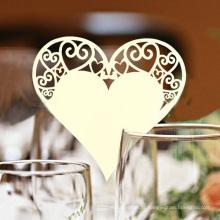 Cartão romântico do vidro de vinho do laser da forma do coração para o partido