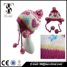 Fashion little girl's beanie jacquard heart hat with pom pom