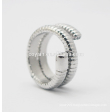 Fashion stainless steel jewelry Turkish Ethnic Carved Unique Punk silver snake ring for women three layer snake mid finger ring