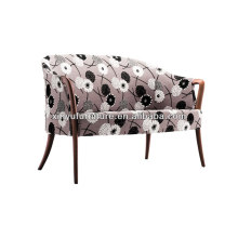 Flower fabric covered leisure walnut arm chesterfield XY3342