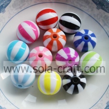 12MM Colorful Chinese Wholesale Loose Beads Material Striped Round Watermelon Resin Beads Charms For Garment Accessory Online