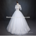 Luxury lace short sleeve heavy beaded white color zhongshan wedding dress with floor length