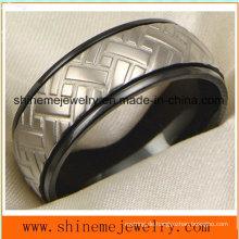 18k Black Plated Carving Titan Körper Schmuck Ring (TR1829)
