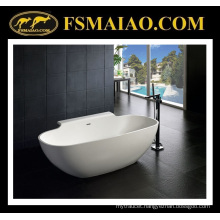 Solid Surface Modern Freestanding Bathtub with Shelf (BS-8607)