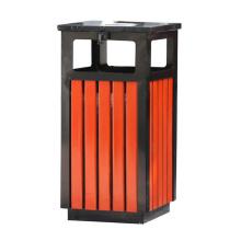 Stainless Steel Wooden Outdoor Dustbin (B13310)